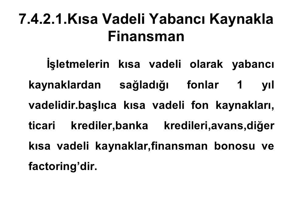 7.4.2.1.Kısa Vadeli Yabancı Kaynakla Finansman