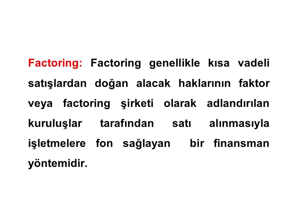 Factoring: Factoring genellikle kısa vadeli satışlardan doğan alacak haklarının faktor veya factoring şirketi olarak adlandırılan kuruluşlar tarafından satı alınmasıyla işletmelere fon sağlayan bir finansman yöntemidir.
