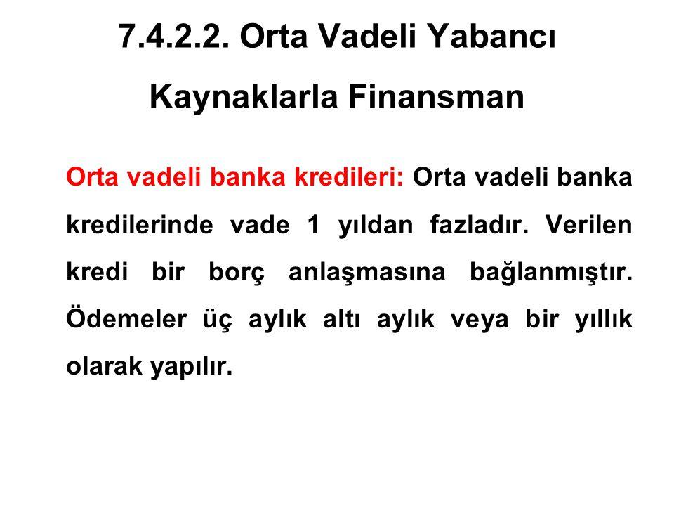 7.4.2.2. Orta Vadeli Yabancı Kaynaklarla Finansman