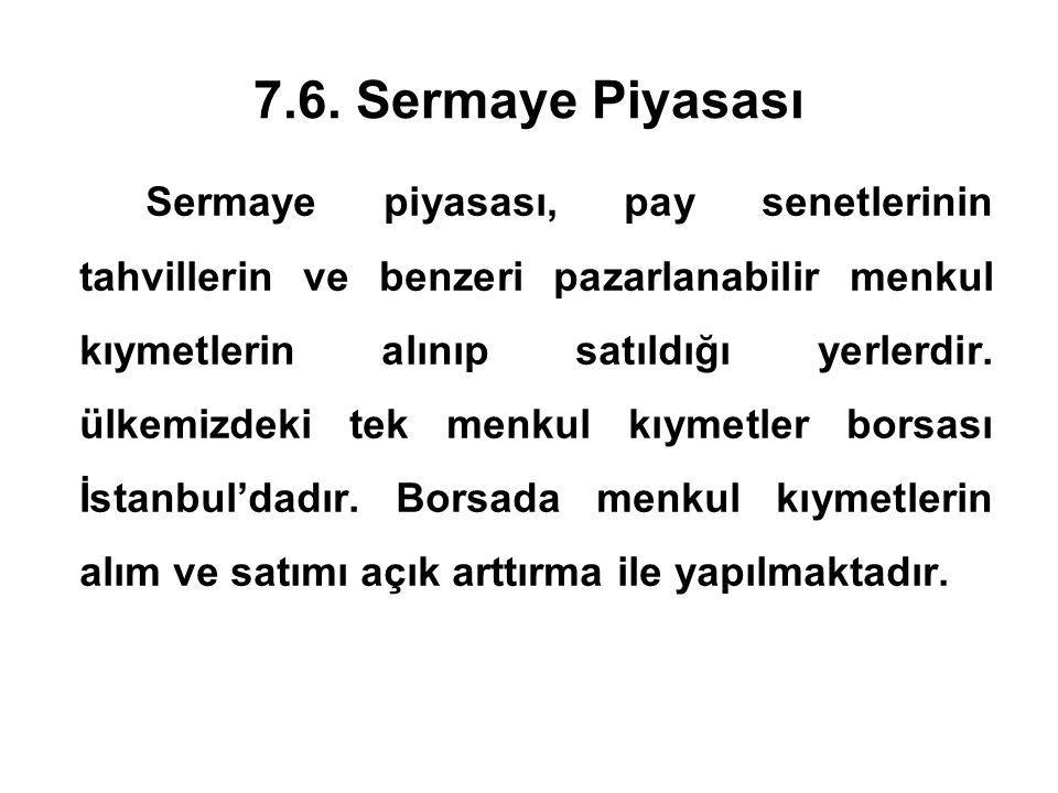 7.6. Sermaye Piyasası