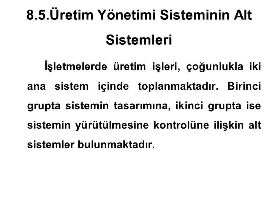 8.5.Üretim Yönetimi Sisteminin Alt Sistemleri