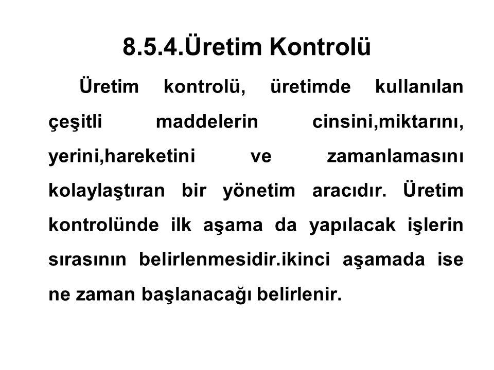 8.5.4.Üretim Kontrolü