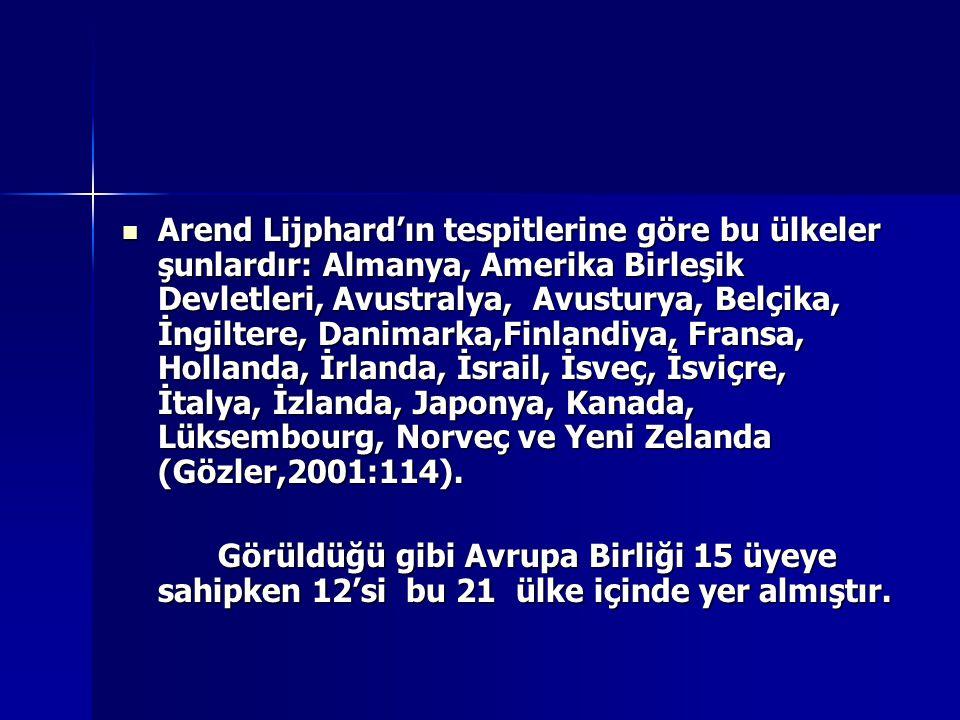 Arend Lijphard'ın tespitlerine göre bu ülkeler şunlardır: Almanya, Amerika Birleşik Devletleri, Avustralya, Avusturya, Belçika, İngiltere, Danimarka,Finlandiya, Fransa, Hollanda, İrlanda, İsrail, İsveç, İsviçre, İtalya, İzlanda, Japonya, Kanada, Lüksembourg, Norveç ve Yeni Zelanda (Gözler,2001:114).