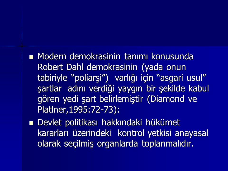 Modern demokrasinin tanımı konusunda Robert Dahl demokrasinin (yada onun tabiriyle poliarşi ) varlığı için asgari usul şartlar adını verdiği yaygın bir şekilde kabul gören yedi şart belirlemiştir (Diamond ve Platlner,1995:72-73):