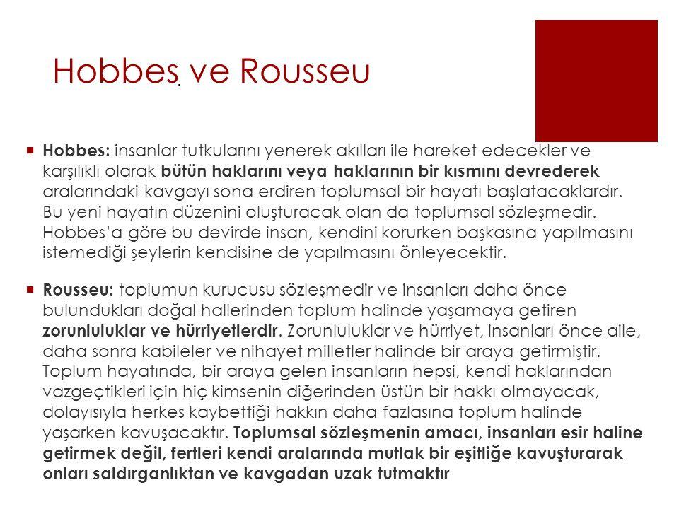 Hobbes ve Rousseu .