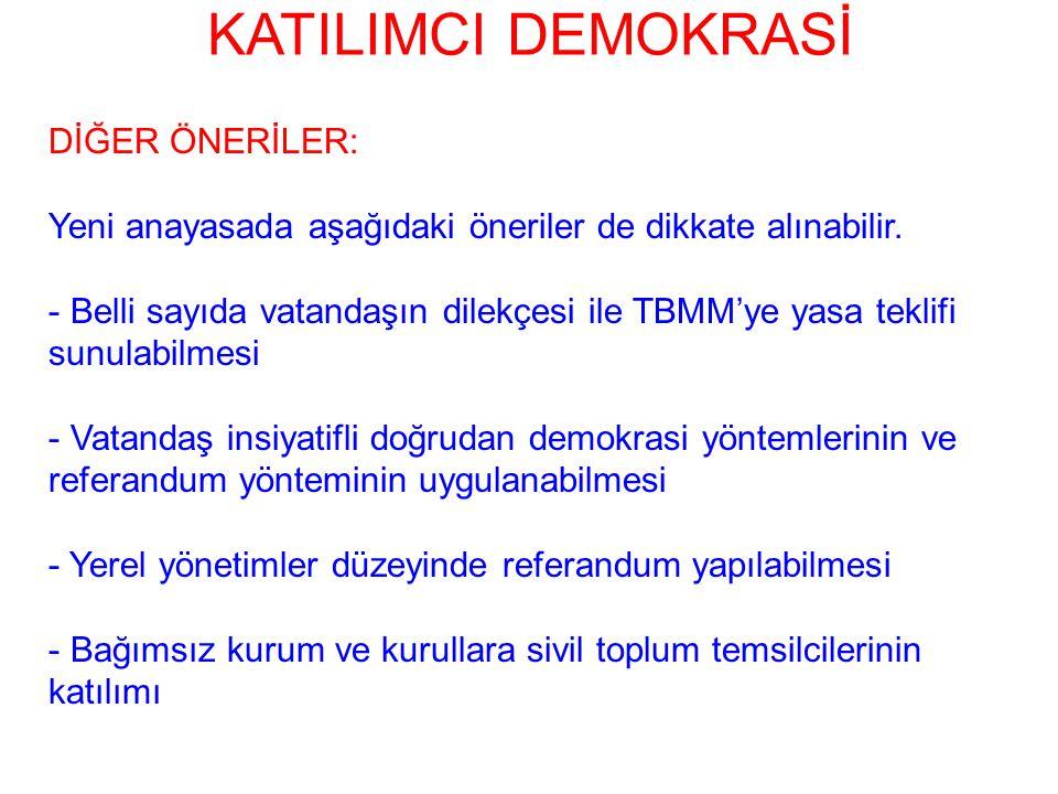 KATILIMCI DEMOKRASİ DİĞER ÖNERİLER: