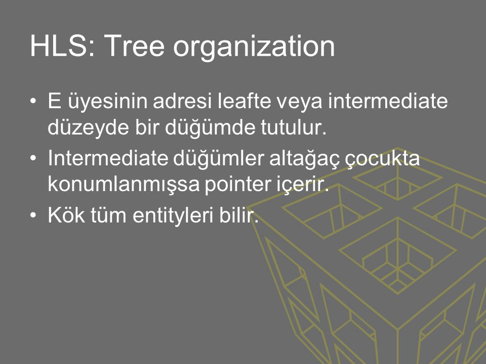 HLS: Tree organization