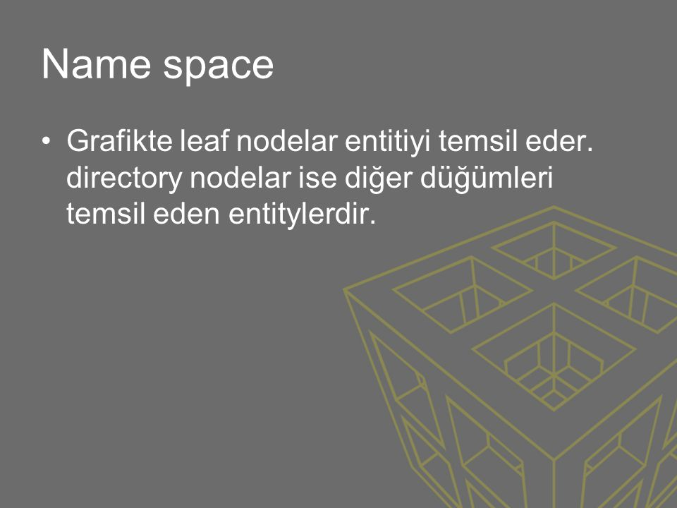 Name space Grafikte leaf nodelar entitiyi temsil eder.