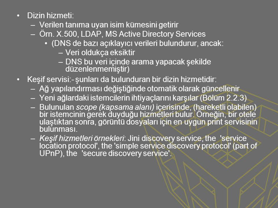 Dizin hizmeti: Verilen tanıma uyan isim kümesini getirir. Örn. X.500, LDAP, MS Active Directory Services.