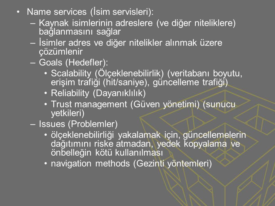 Name services (İsim servisleri):