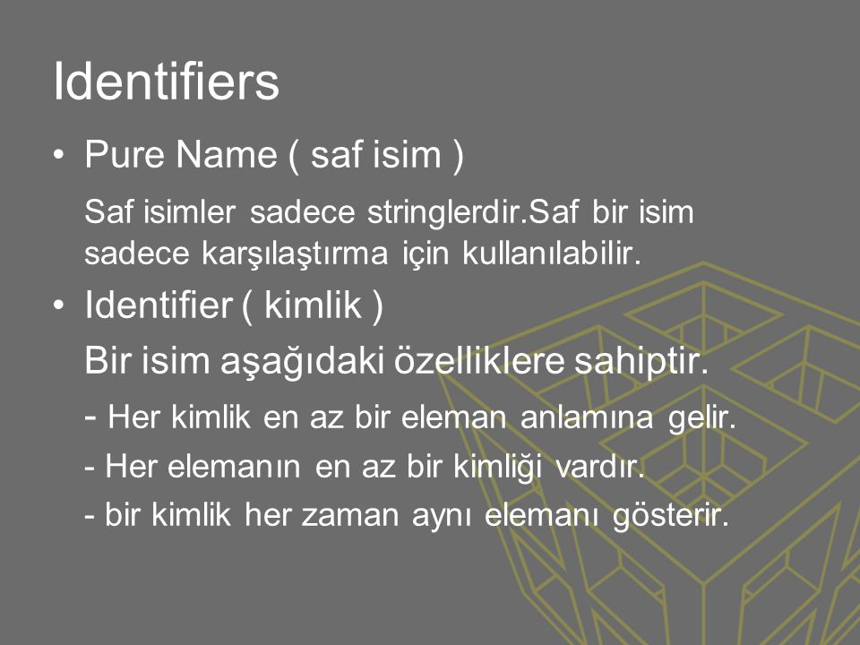 Identifiers Pure Name ( saf isim )