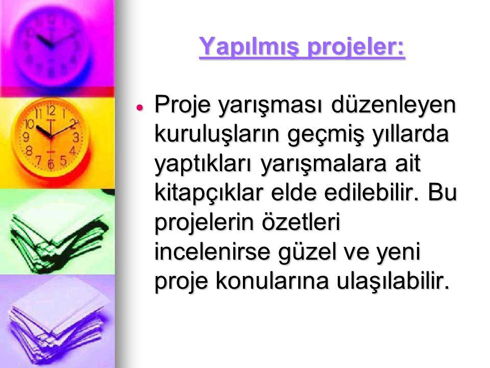 Yapılmış projeler: