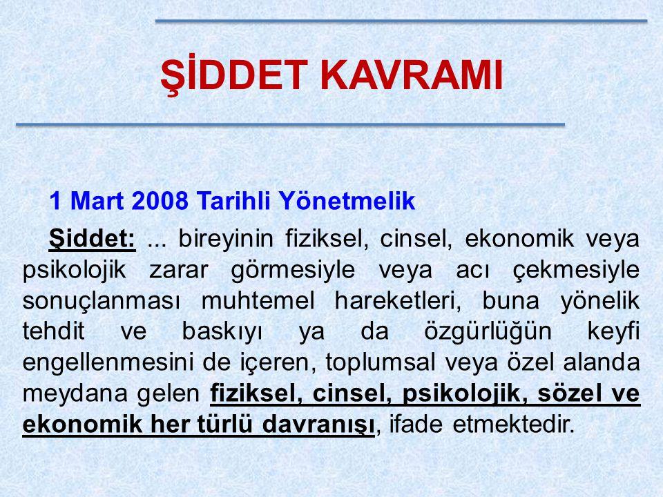 ŞİDDET KAVRAMI 1 Mart 2008 Tarihli Yönetmelik