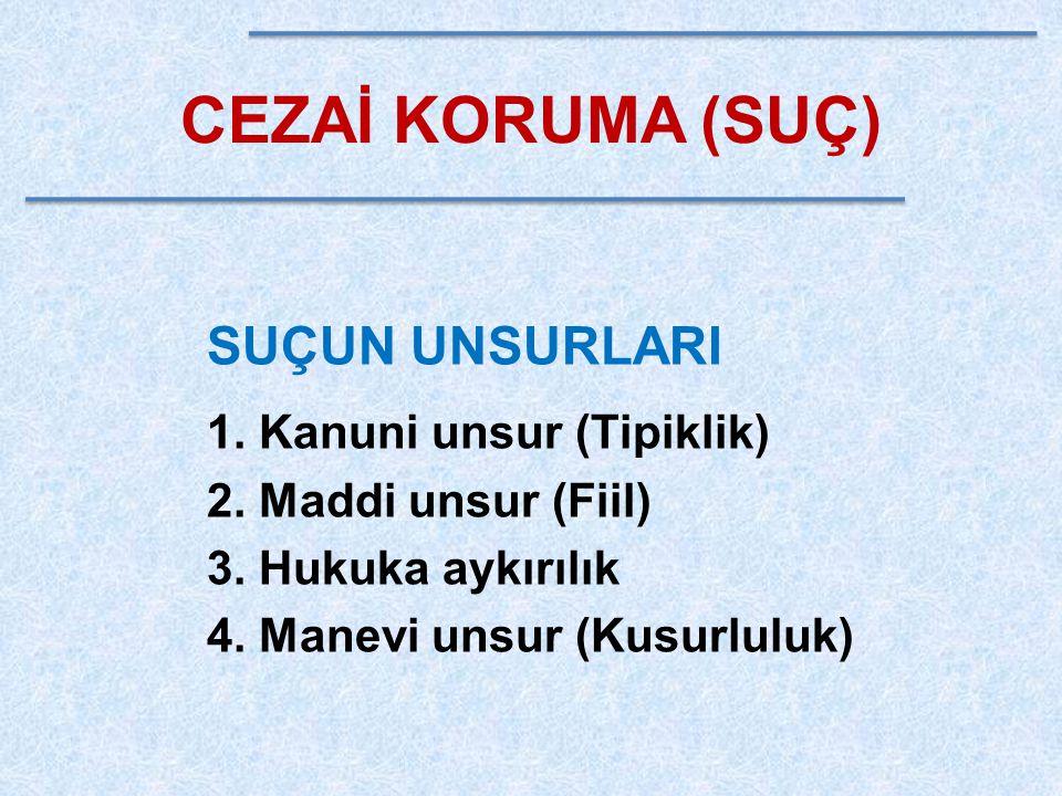 CEZAİ KORUMA (SUÇ) SUÇUN UNSURLARI Kanuni unsur (Tipiklik)