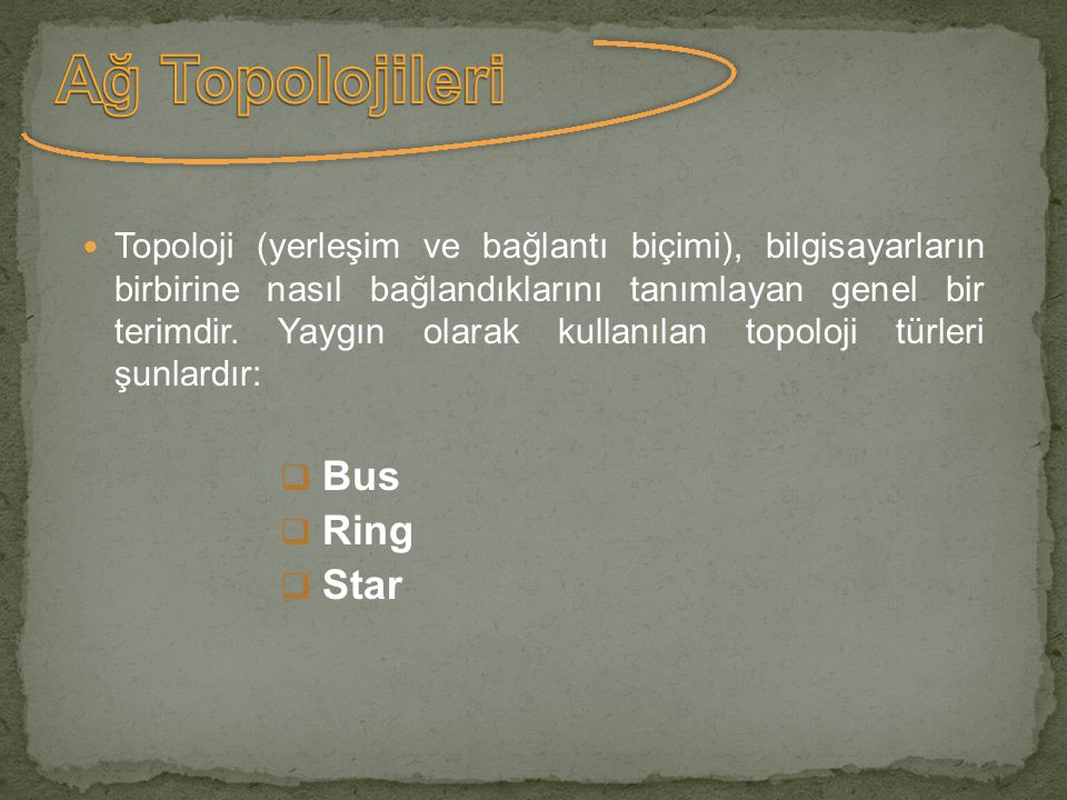 Ağ Topolojileri Bus Ring Star