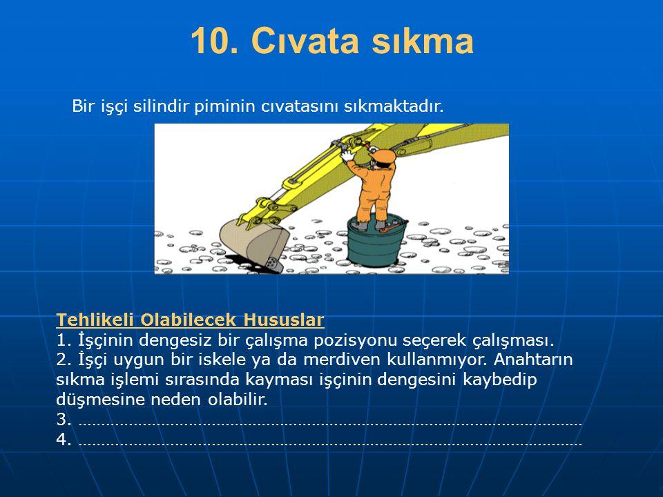 10. Cıvata sıkma Bir işçi silindir piminin cıvatasını sıkmaktadır.