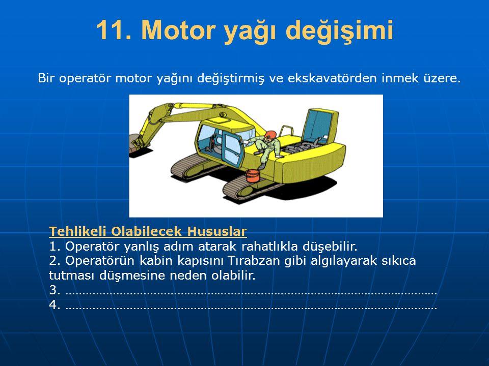 11. Motor yağı değişimi Bir operatör motor yağını değiştirmiş ve ekskavatörden inmek üzere. Tehlikeli Olabilecek Hususlar.