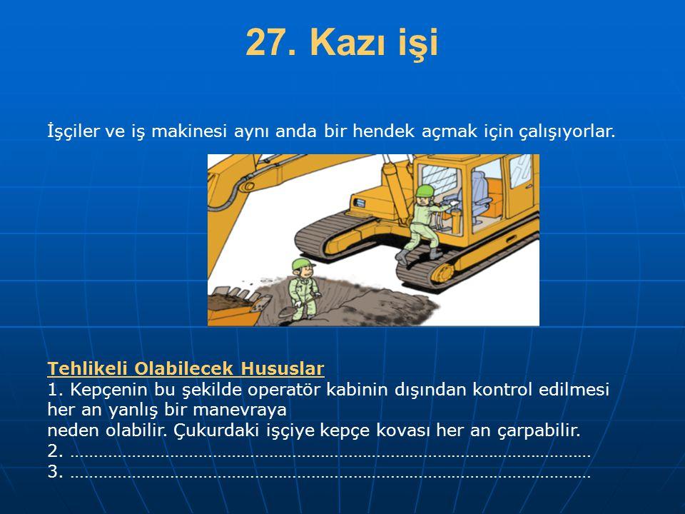 27. Kazı işi İşçiler ve iş makinesi aynı anda bir hendek açmak için çalışıyorlar. Tehlikeli Olabilecek Hususlar.