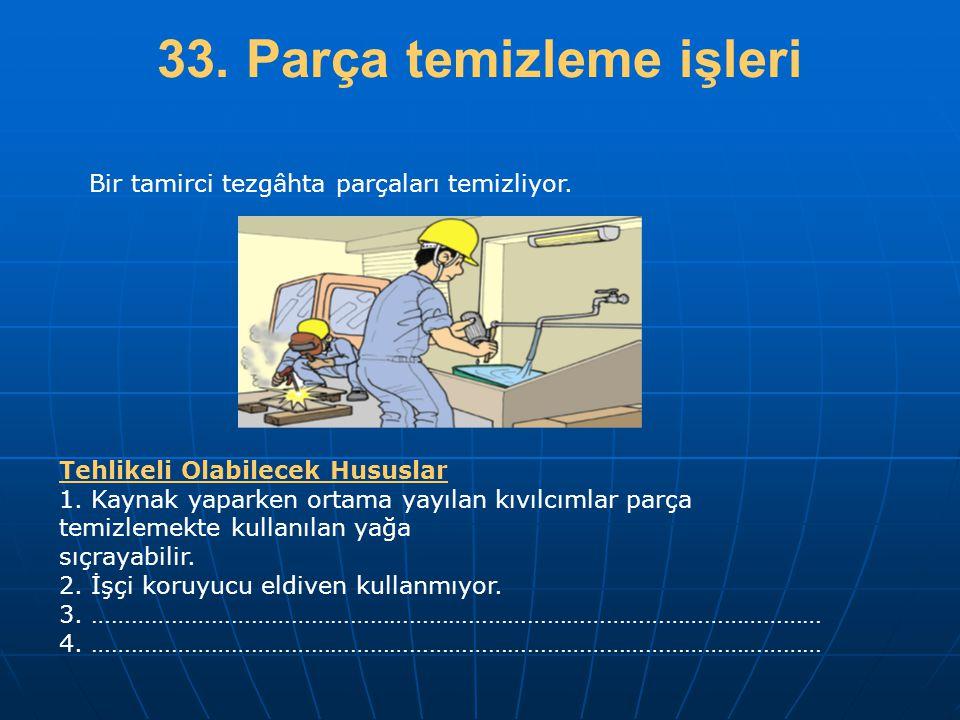 33. Parça temizleme işleri
