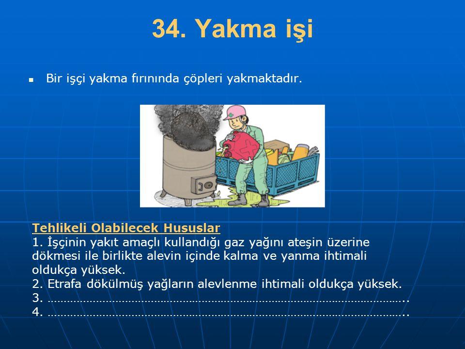 34. Yakma işi Bir işçi yakma fırınında çöpleri yakmaktadır.