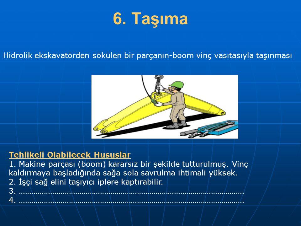 6. Taşıma Hidrolik ekskavatörden sökülen bir parçanın-boom vinç vasıtasıyla taşınması. Tehlikeli Olabilecek Hususlar.