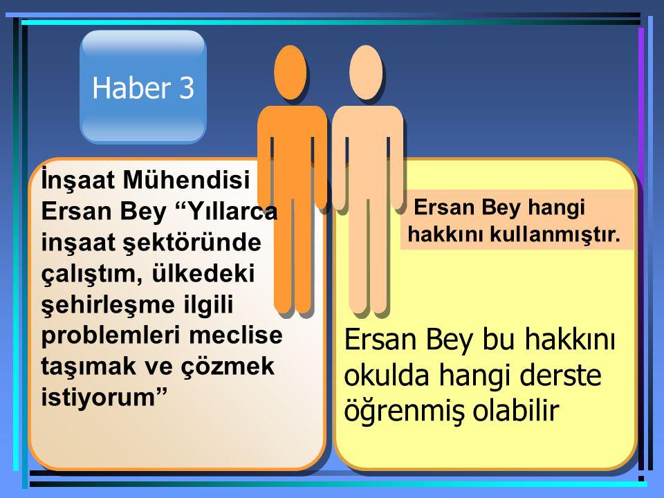 Haber 3 Ersan Bey bu hakkını okulda hangi derste öğrenmiş olabilir