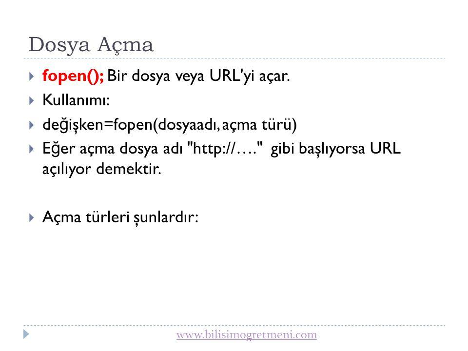 Dosya Açma fopen(); Bir dosya veya URL yi açar. Kullanımı: