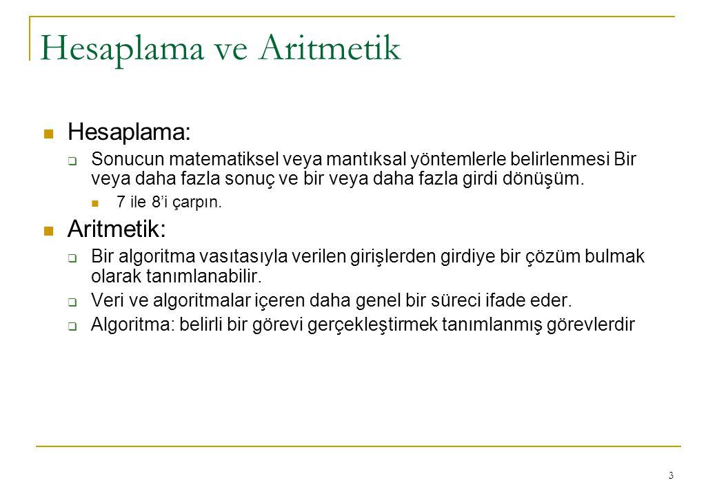Hesaplama ve Aritmetik
