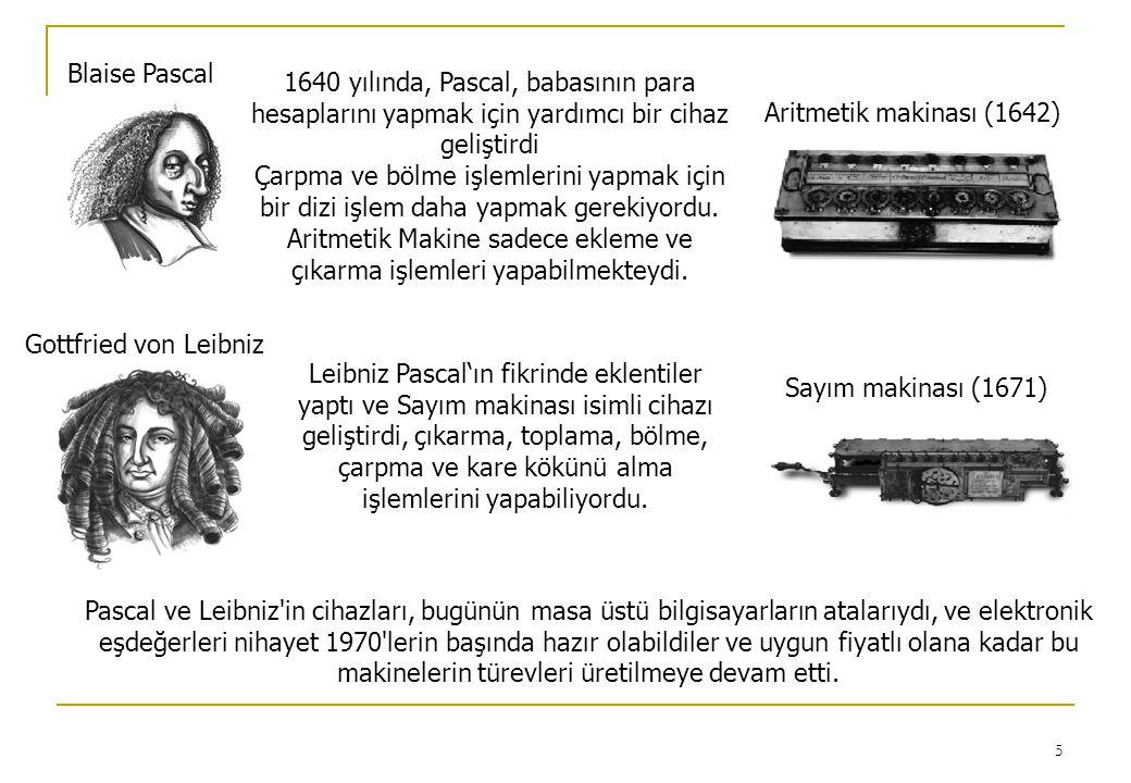 Blaise Pascal Aritmetik makinası (1642) 1640 yılında, Pascal, babasının para hesaplarını yapmak için yardımcı bir cihaz geliştirdi.