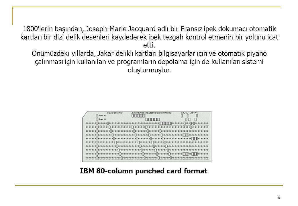 1800 lerin başından, Joseph-Marie Jacquard adlı bir Fransız ipek dokumacı otomatik kartları bir dizi delik desenleri kaydederek ipek tezgah kontrol etmenin bir yolunu icat etti.