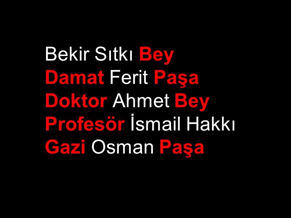 Damat Ferit Paşa Doktor Ahmet Bey Profesör İsmail Hakkı