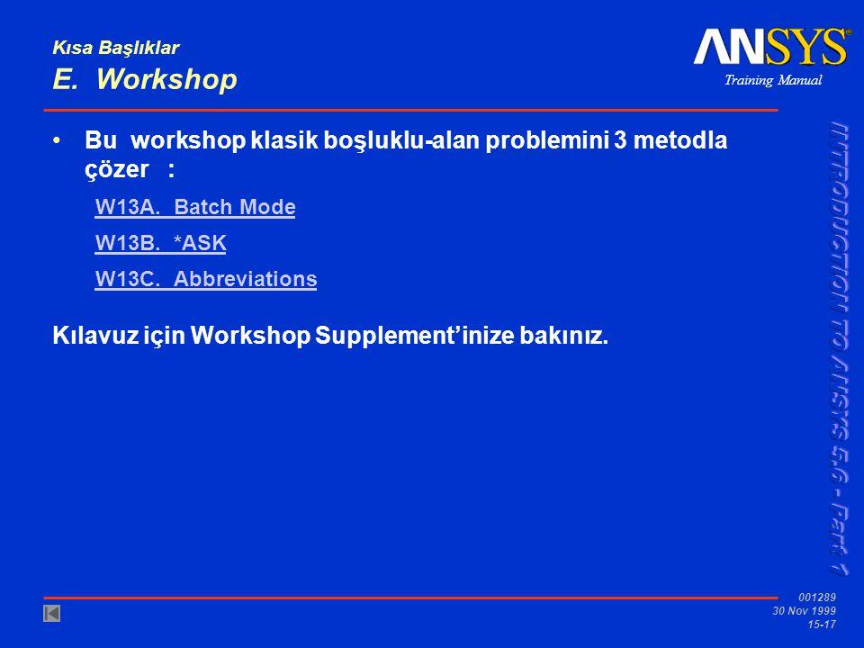 Kısa Başlıklar E. Workshop