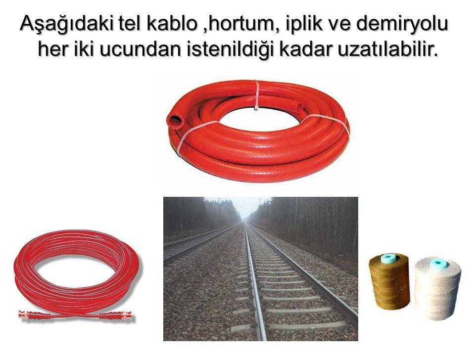 Aşağıdaki tel kablo ,hortum, iplik ve demiryolu her iki ucundan istenildiği kadar uzatılabilir.