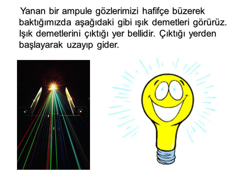 Yanan bir ampule gözlerimizi hafifçe büzerek baktığımızda aşağıdaki gibi ışık demetleri görürüz.