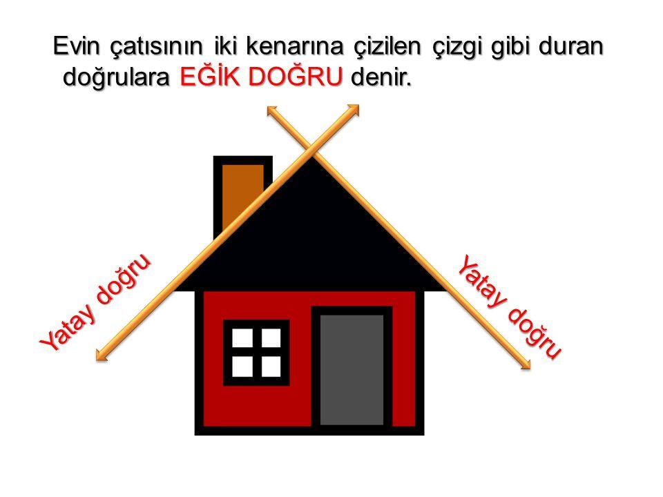Evin çatısının iki kenarına çizilen çizgi gibi duran doğrulara EĞİK DOĞRU denir.