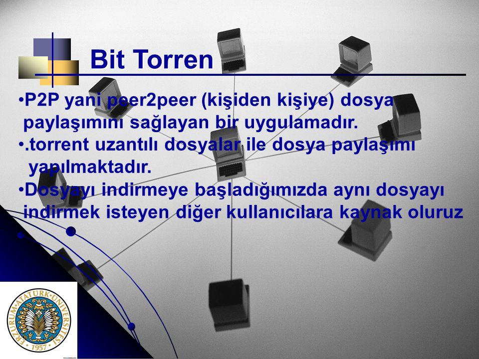 Bit Torren P2P yani peer2peer (kişiden kişiye) dosya