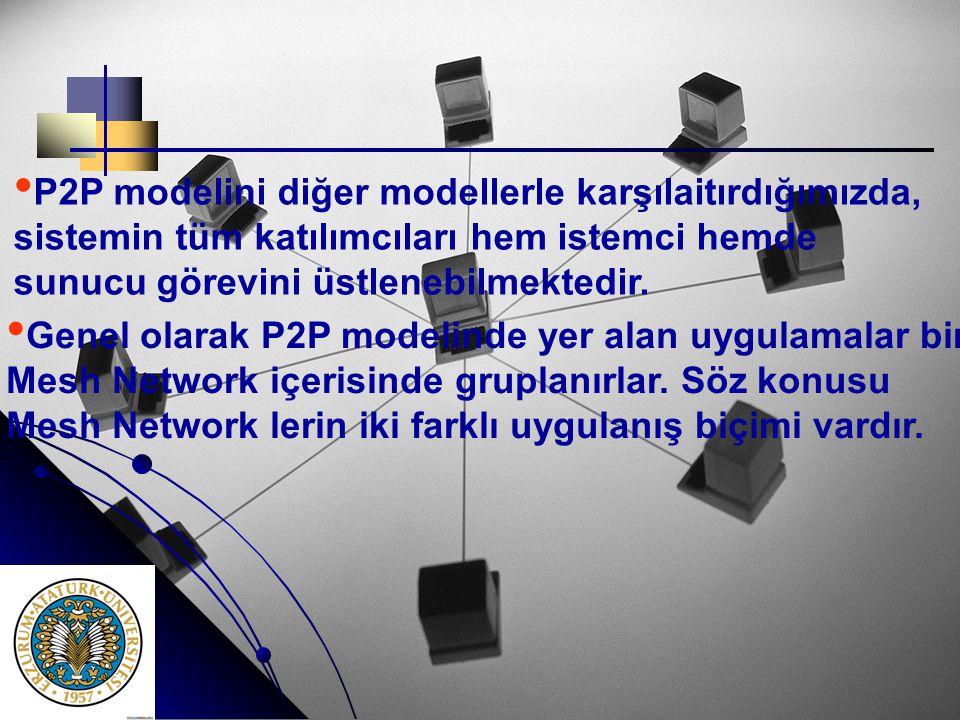 P2P modelini diğer modellerle karşılaitırdığımızda,