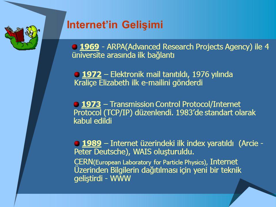 Internet'in Gelişimi 1969 - ARPA(Advanced Research Projects Agency) ile 4 üniversite arasında ilk bağlantı.