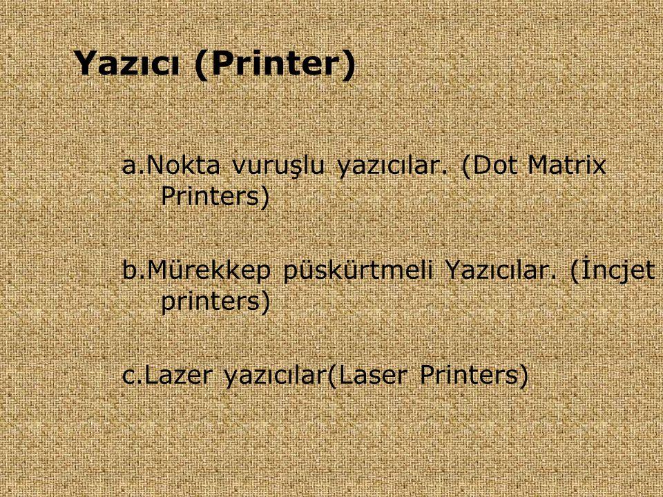 Yazıcı (Printer) a.Nokta vuruşlu yazıcılar. (Dot Matrix Printers)