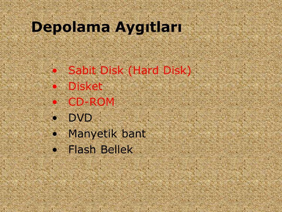 Depolama Aygıtları Sabit Disk (Hard Disk) Disket CD-ROM DVD