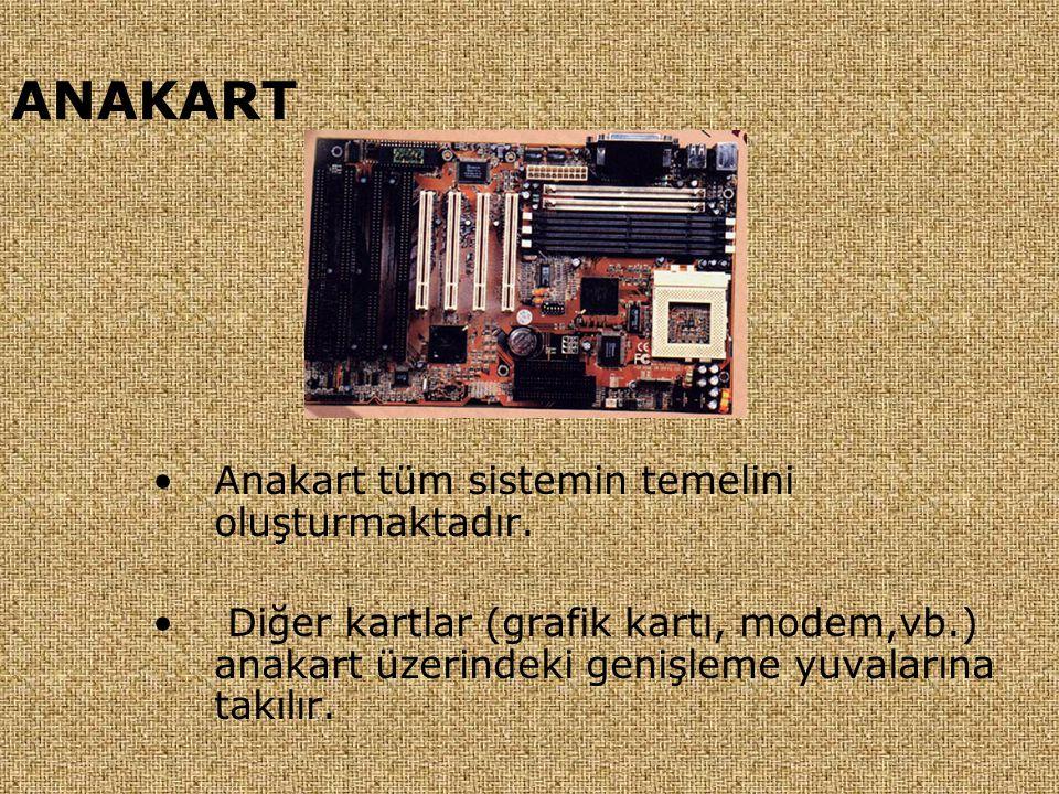 ANAKART Anakart tüm sistemin temelini oluşturmaktadır.