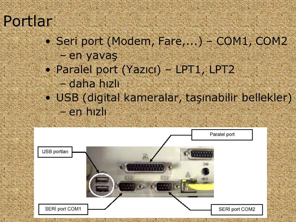 Portlar Seri port (Modem, Fare,...) – COM1, COM2 en yavaş