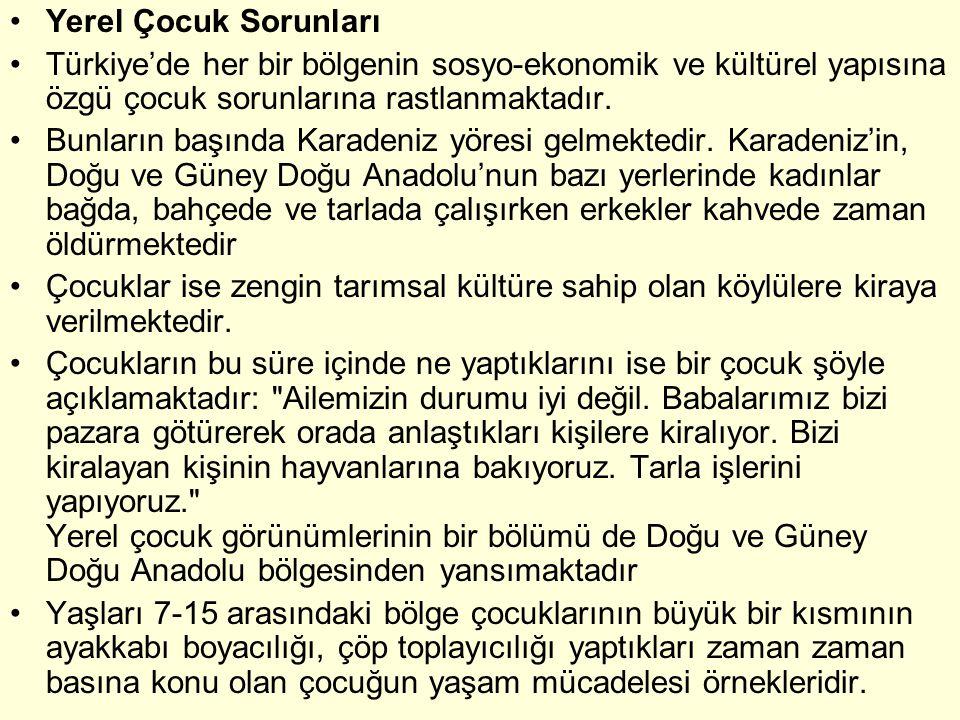 Yerel Çocuk Sorunları Türkiye'de her bir bölgenin sosyo-ekonomik ve kültürel yapısına özgü çocuk sorunlarına rastlanmaktadır.