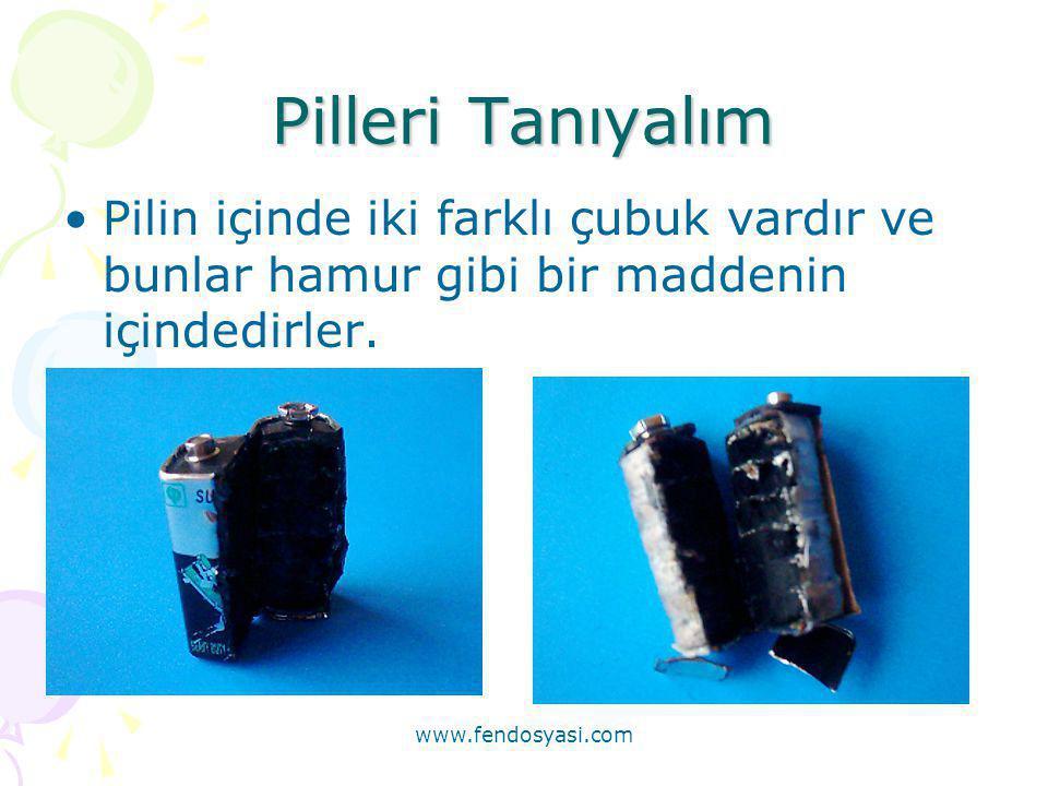 Pilleri Tanıyalım Pilin içinde iki farklı çubuk vardır ve bunlar hamur gibi bir maddenin içindedirler.