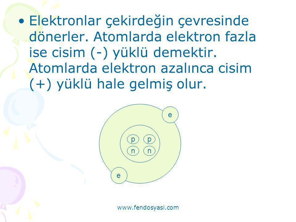 Elektronlar çekirdeğin çevresinde dönerler