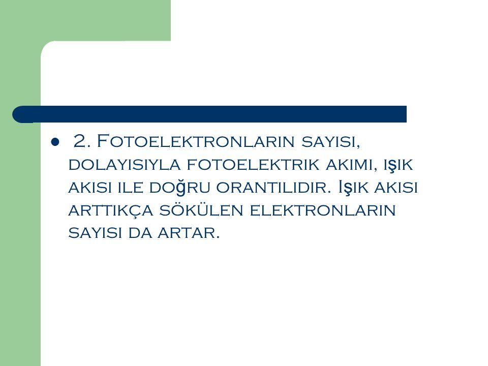 2. Fotoelektronların sayısı, dolayısıyla fotoelektrik akımı, ışık akısı ile doğru orantılıdır.