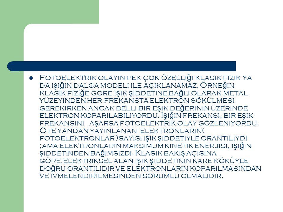 Fotoelektrik olayın pek çok özelliği klasik fizik ya da ışığın dalga modeli ile açıklanamaz.