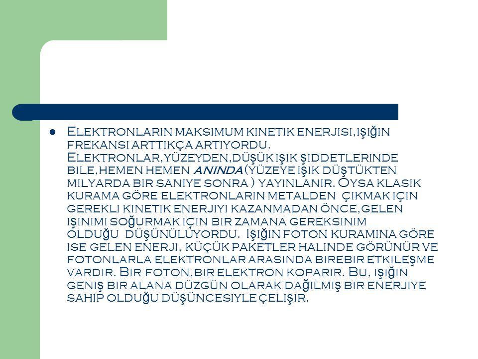 Elektronların maksimum kinetik enerjisi,ışığın frekansı arttıkça artıyordu.