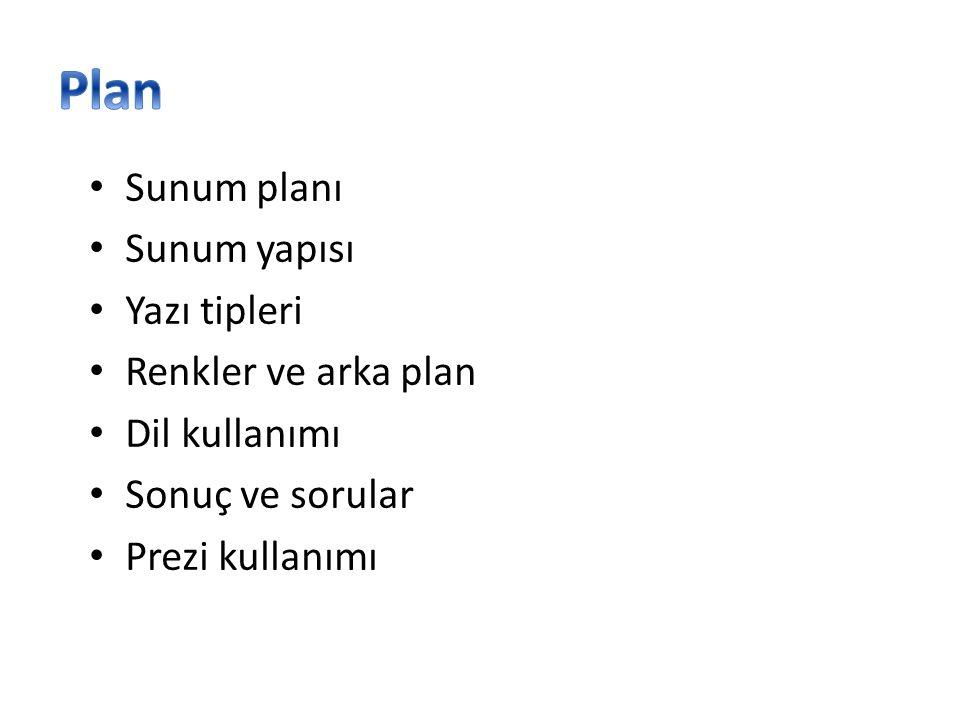 Plan Sunum planı Sunum yapısı Yazı tipleri Renkler ve arka plan