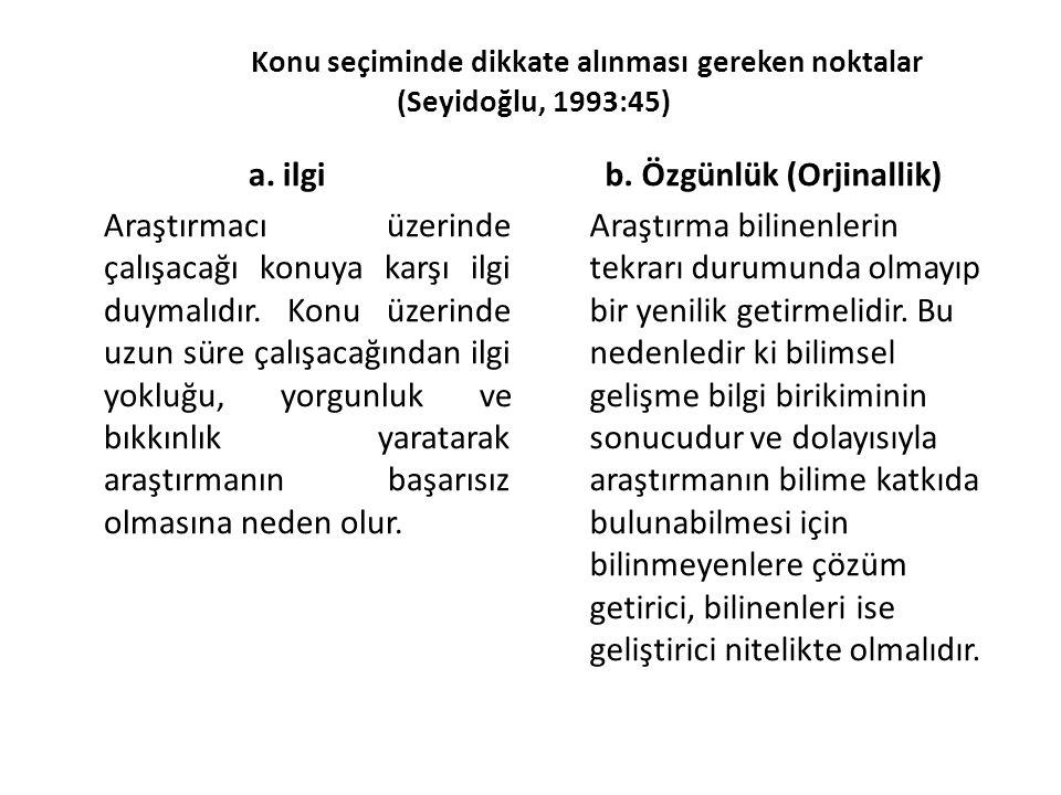 Konu seçiminde dikkate alınması gereken noktalar (Seyidoğlu, 1993:45)